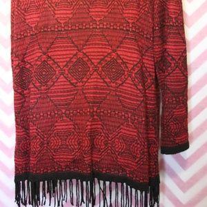 Alison Daley Sweaters - Alison Daley Red & Black Fringe Cardigan Size M